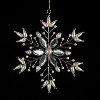 Metal Snowflake with Pearl & Stone,D1292