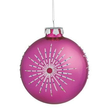 Hot Pink Graphic Ball Orn,070123