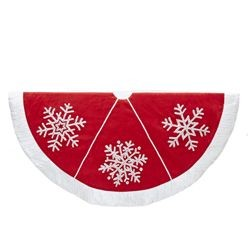 Red Snowflakes & Pompoms Tree Skirt,TS0118