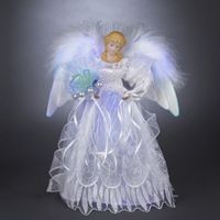 White/Silver Fiber Optic LED Angel Tree Topper,UL1071